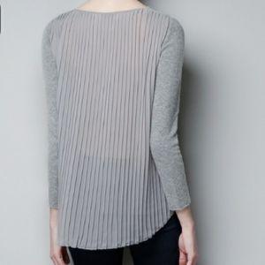 Zara Knit Chiffon Pleated Back Sweater